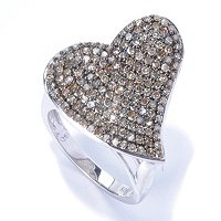 SS CHAMPAGNE DIAMOND HEART RING