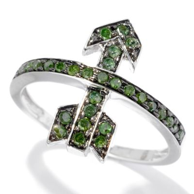 130-722 - Diamond Treasures Sterling Silver 0.26ctw Green Diamond Arrow Band Ring