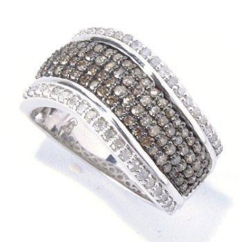 130-728 - Diamond Treasures Sterling Silver 0.87ctw Champagne & White Diamond Wide Band Ring