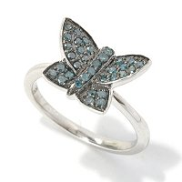 SS BLUE DIAMOND BUTTERLY BAND RING