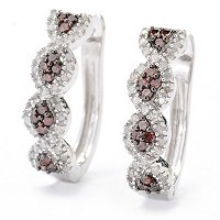 SS RED AND WHITE DIAMOND HOOP EARRINGS