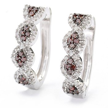 130-731 - Diamond Treasures Sterling Silver 0.37ctw Red & White Diamond Hoop Earrings