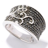 SS BLACK DIAMOND WIDE BAND RING