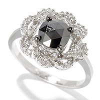 SS ROUND BLACK DIAMOND RING W/ WHITE ACCENTS