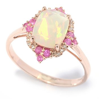 130-787 - Gem Treasures 14K Rose Gold 1.52ctw Ethiopian Opal, Sapphire & Diamond Ring