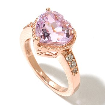 130-789 - Gem Treasures 14K Rose Gold 3.75ctw Kunzite & White Zircon Heart Shaped Ring