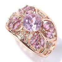 14K RG ROUND KUNZITE WITH PINK TOURM ACCENTS RING