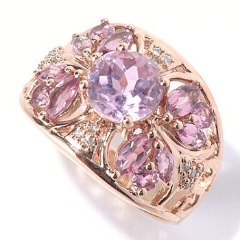 130-793 - Gem Treasures 14K Rose Gold 2.27ctw Kunzite, Pink Tourmaline & Diamond Ring