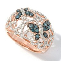 SS/ROSE PLATED BLUE DIAMOND BUTTERFLY RING