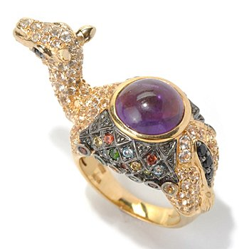 130-804 - NYC II 9mm Amethyst Cabochon & Multi Gemstone Camel Ring