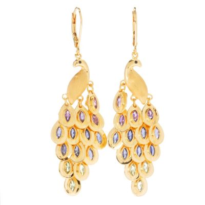 "130-809 - NYC II 2.04ctw 2.25"" Multi Gemstone Peacock Chandelier Earrings"
