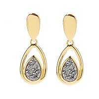 SS/18KGP EAR DRUSY PEAR DROP w/ OMEGA BACK
