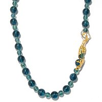 SS/PALL NECK GREEN FLUORITE BEAD SCULPTED MERMAID - 30""