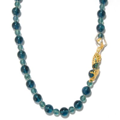 "130-813 - Gems en Vogue II 28"" Green Fluorite & Multi Gemstone Beaded Mermaid Necklace"