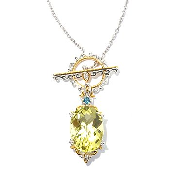 130-815 - Gems en Vogue II 20'' Ouro Verde, London Blue Topaz & White Sapphire Toggle Necklace