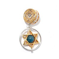 SS/PALL CHARM AQUA BEAD STAR OF DAVID SPIN DROP