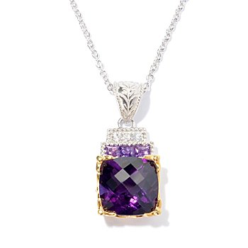 130-823 - Gems en Vogue II 7.29ctw Cushion Shaped Amethyst & White Sapphire Pendant w/ Chain
