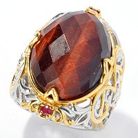 SS/PALL RING CHECKERBOARD-CUT TIGER EYE & RUBY