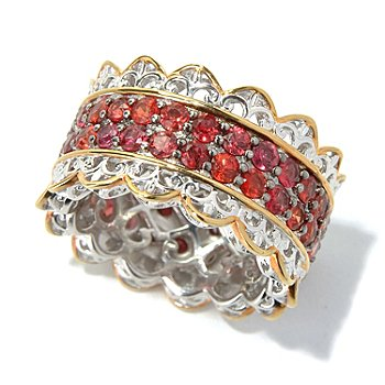 130-825 - Gems en Vogue II 4.16ctw Blood Orange Sapphire Eternity Band Ring