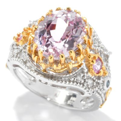 130-827 - The Vault from Gems en Vogue II 4.08ctw Kunzite, Pink Sapphire & Multi Diamond Ring