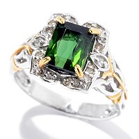 SS/PALL RING RADIANT-CUT BAHIA GREEN TOURMALINE