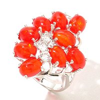 SS ORANGE AND WHITE TOPAZ RING