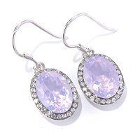 SS LAVENDERITE OVAL EARRINGS W/ WHITE TOPAZ