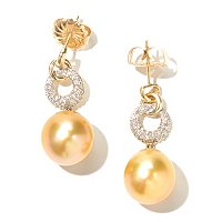 14K YG 13mm OVAL GOLDEN SOUTH SEA & DIAMOND EARRINGS