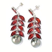 SS 12mm SEMI BAROQUE ROBERT WAN TAHITIAN & GARNET EARRINGS