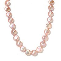 "14K YG 18"" 12-13mm AAA QUALITY ROUND PINK FWP COIN NECKLACE"