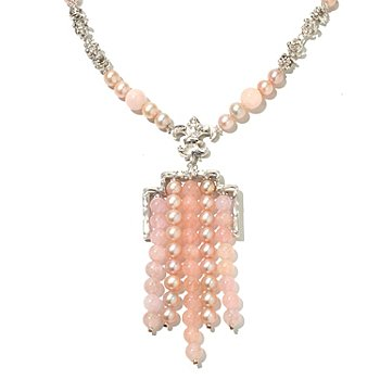 130-860 - Dallas Prince Designs Sterling Silver 20'' Morganite & Pink Cultured Pearl Necklace
