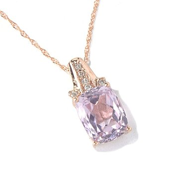130-861 - Gem Treasures 14K Rose Gold 2.27ctw Kunzite & Diamond Pendant w/ Chain