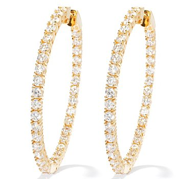 "130-874 - Brilliante® 2"" 7.70 DEW Round Cut Large Inside-Out Hoop Earrings"