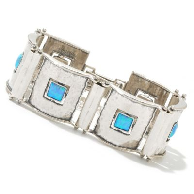 "130-891 - Passage to Israel Sterling Silver 7"" Square Gemstone Hammered Link Panel Bracelet"