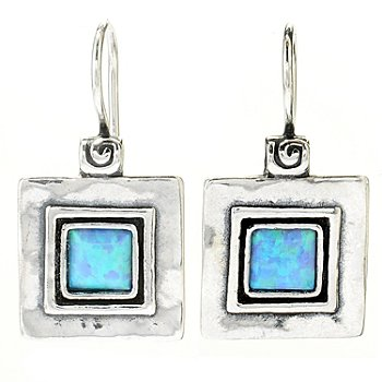 130-892 - Passage to Israel Sterling Silver 1'' Square Gemstone Hammered Drop Earrings