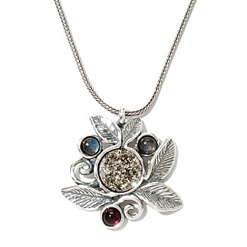 130-896 - Passage to Israel Sterling Silver 18'' Drusy, Garnet & Labradorite Leaf Motif Necklace