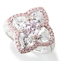 SS/PLAT PINK AND WHITE TRILLION AND ASSCHER CUT FLOWER RING