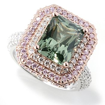 130-915 - Dare to Rare™ by Lucy Two-tone Pink & Green 5.23 DEW Simulated Diamond Double Halo Ring