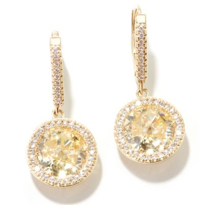 130-921 - Dare to Rare™ by Lucy 6.13 DEW Gold Embraced Rose Cut Simulated Diamond Halo Drop Earrings