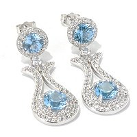 SS/PLAT ROUND CUT BLUE AND WHITE HALO DROP EARRINGS