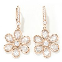 SS/CHOICE ROUND AND TEARDROP CHECKERBOARD FLOWER DANGLE EARRINGS