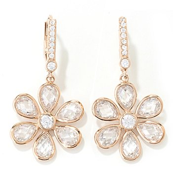 130-924 - Dare to Rare™ for Brilliante® 1.25'' 5.22 DEW Round & Teardrop Flower Dangle Earrings