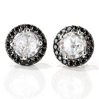 SS/PLAT WHITE AND BLACK ROSE CUT HALO STUD EARRINGS