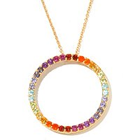 "SS/P PEND EXOTIC RAINBOW INFINITY CIRCLE w/ 20"" CHAIN"