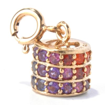 131-018 - NYC II 1.23ctw Multi Gemstone Exotic Rainbow Barrel Charm