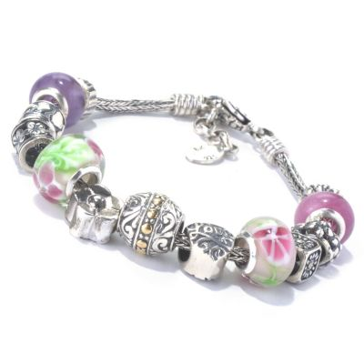 "131-028 - Artisan Silver by Samuel B. 7.75"" Multi Gem & Glass Beaded Flower Charm Bracelet"