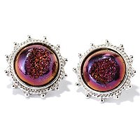 SS 12mm DRUSY FILIGREE EARRINGS