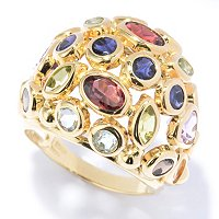 Multi Gem Stone Dome Ring