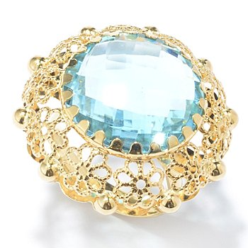 131-046 - Viale18K® Italian Gold 15.13ctw Blue Topaz Floral Filigree Ring