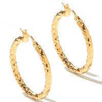 HAMMERED D/ CUT HOOP EARRINGS